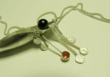 Make  It sterling silver, black pearl, sunstone talisman