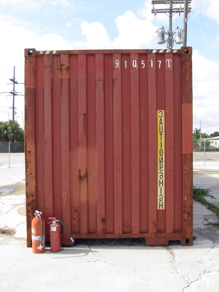 Storage container with fire extinguishers