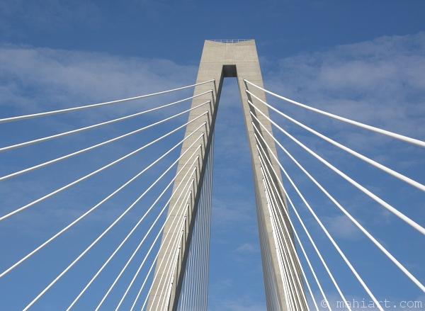Driving across Arthur Ravenel, Jr. Bridge in Charleston, SC