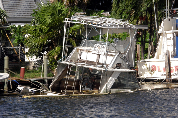 Sunken sportfish boat on Miami River