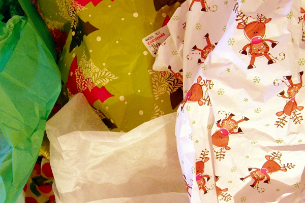 Wrapping paper left from unwrapped gifts