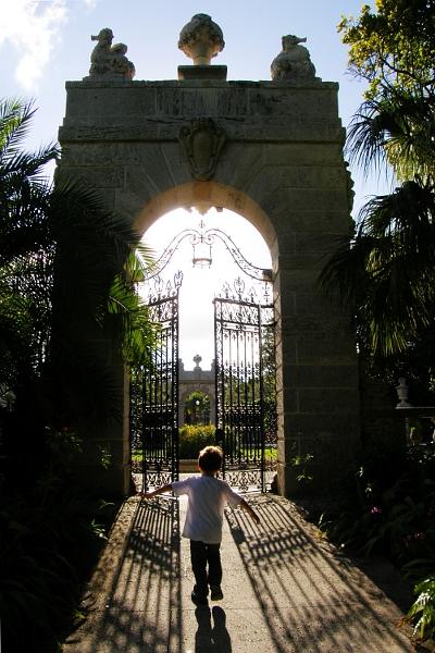 Boy walking to gate at Vizcaya