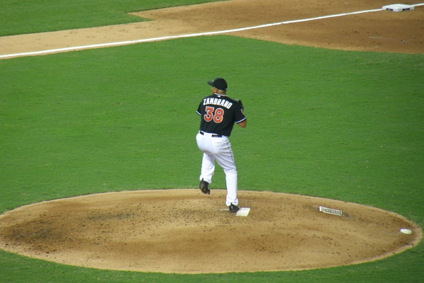 Florida Marlins pitcher Zambrano in action.