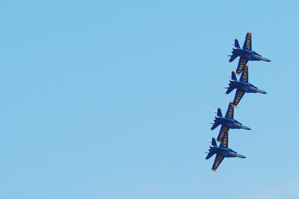 Blue Angels formation flying out of the shot