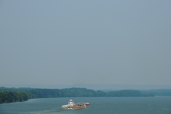 Tennessee River with barge.