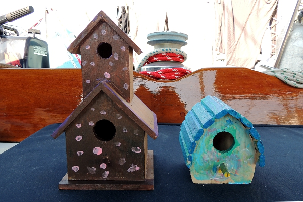 Bird houses painted by children