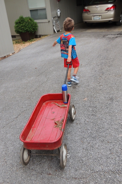 Red wagon pulled by boy