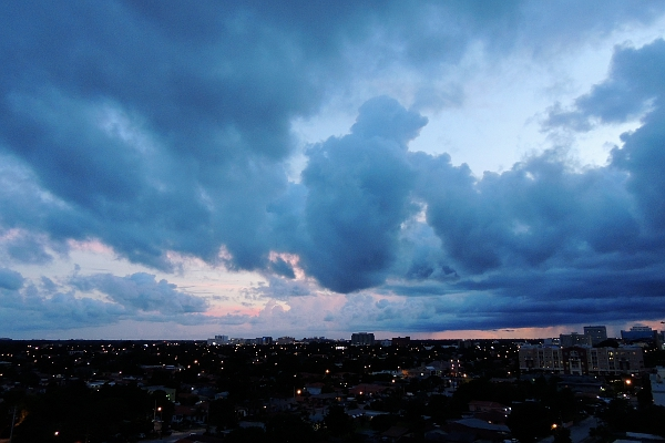 Rain clouds closing in over Coconut Grove