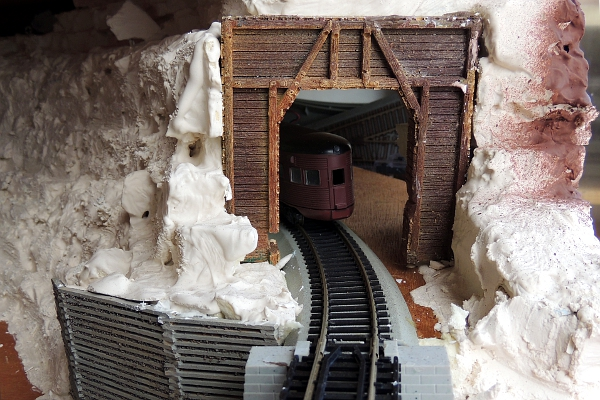 HO scale train tunnel under construction.
