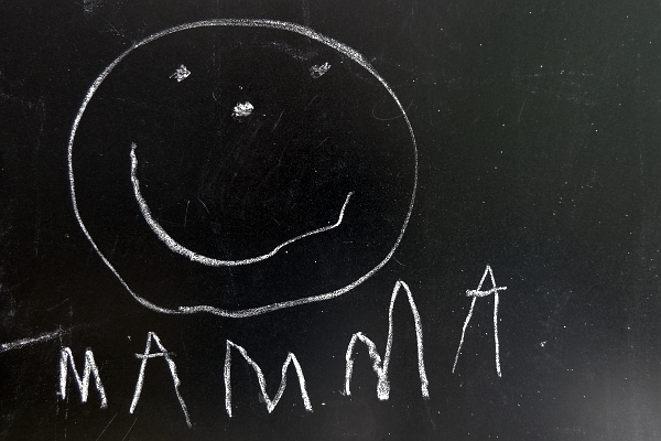 Child's chalk board drawing with mamma written underneath