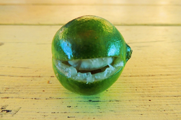 Lime with a slice missing