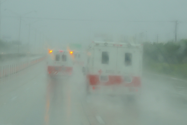 American Red Cross disaster relief vehicles headed south on I95 during tropical storm Isaac