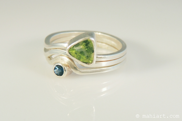 Sterling silver, peridot and sapphire stacking rings