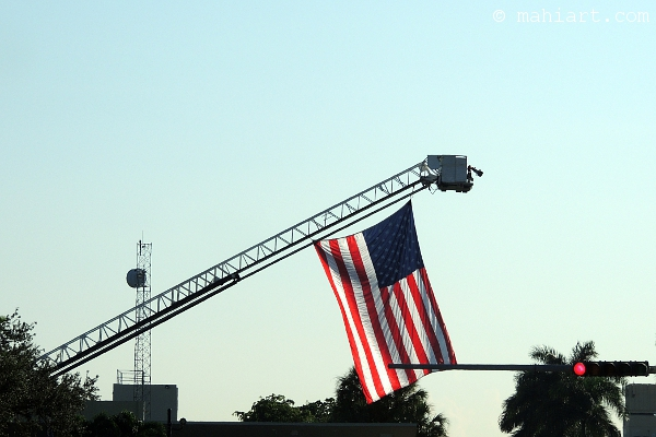 American flag as raised over US1 in Coral Gables by the Riviera Fire Station in memory of September 11
