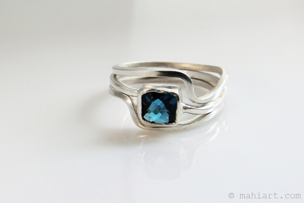 Sterling silver and London blue topaz stacking rings