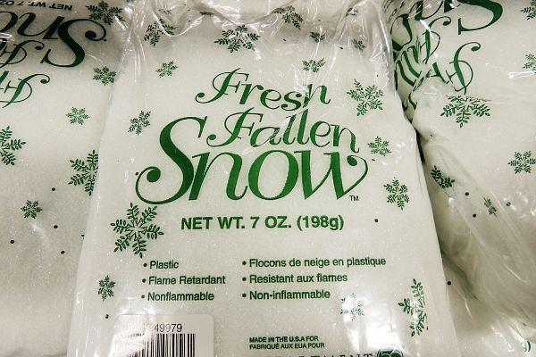Bag of decorative snow at a hobby store