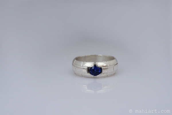 Men's silver ring with sapphire