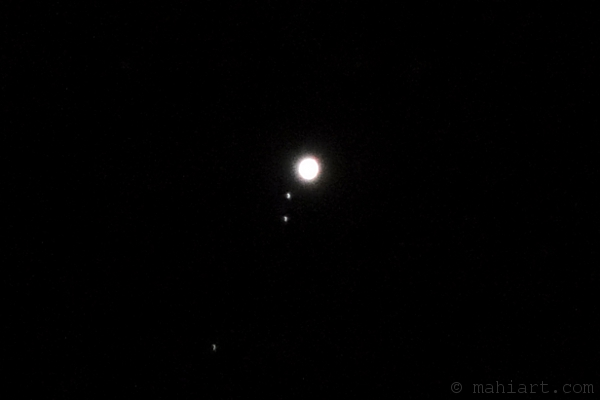Jupiter with three of its moons