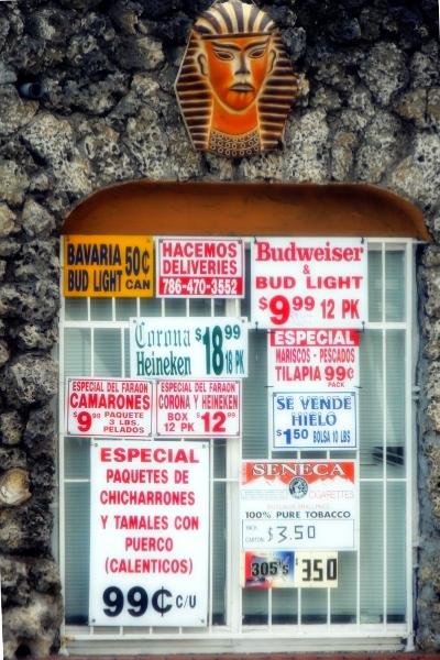 Small store window in Miami's Little Havana
