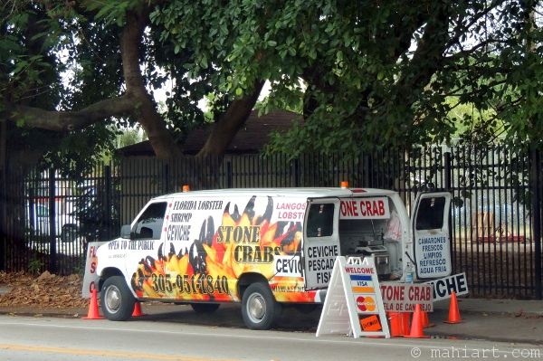 Van selling stone crab on the side of the road.