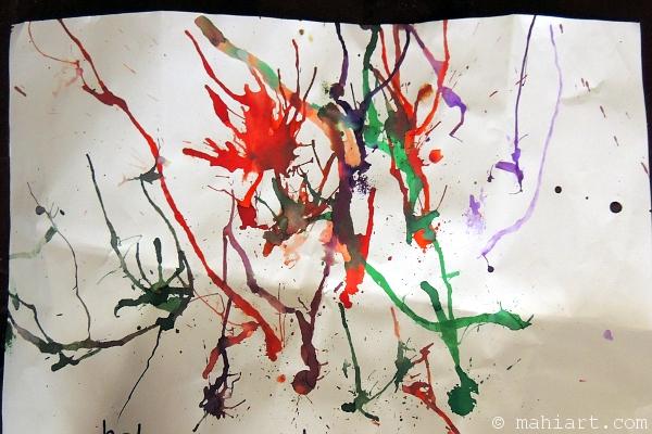Child's art work of fireworks