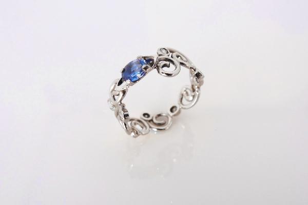 Sapphire and 18k white gold custom engagement ring