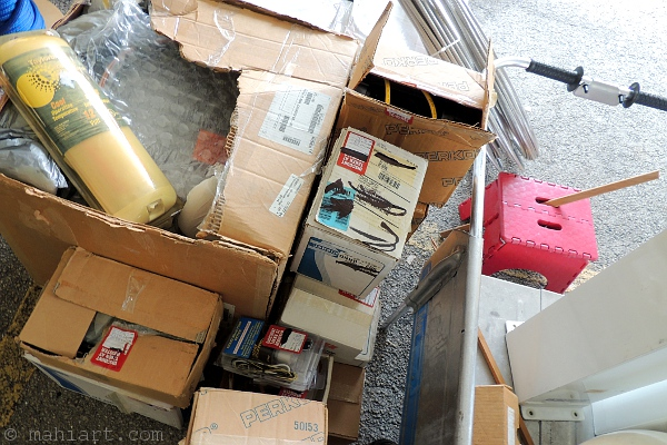 Boxes of boat parts