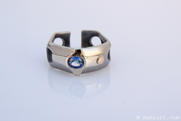 Titanium, 14k gold, and sapphire ring