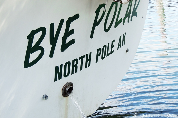Transom of Bye Polar boat with port of call North Pole, AK