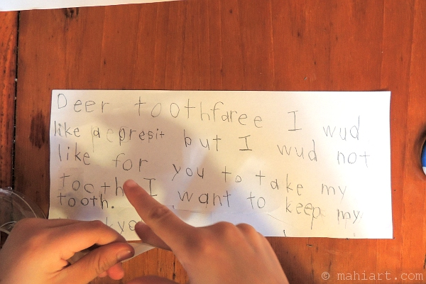 Letter to the tooth fairy, written by 6 year old