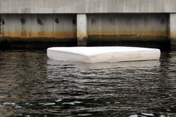Mattress floating in the Miami River