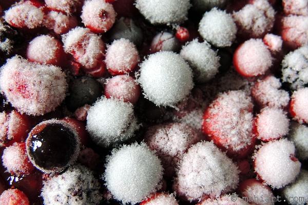 Closeup of mixed frozen berries
