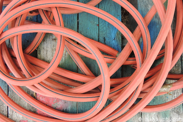 Closeup of red garden hose loosely coiled on old wood platform