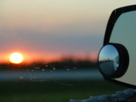 Driving north at sunset.